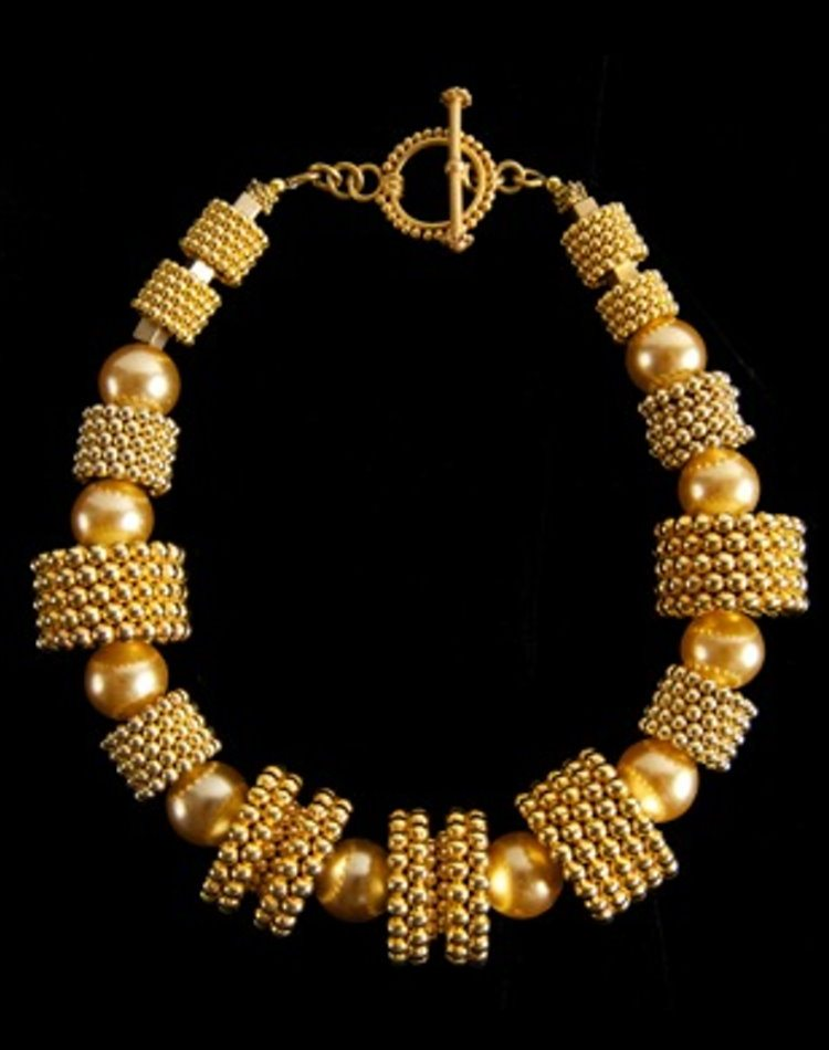 Fantastic Plastic Gold Necklace w Faux Gold Pearls Valerie Peyton